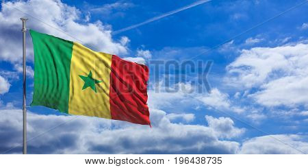 Senegal Waving Flag On Blue Sky. 3D Illustration
