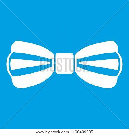 Bow tie icon white isolated on blue background vector illustration