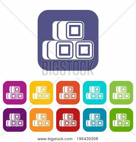 Hay bundles icons set vector illustration in flat style in colors red, blue, green, and other