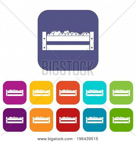 Fresh vegetables in a box icons set vector illustration in flat style in colors red, blue, green, and other