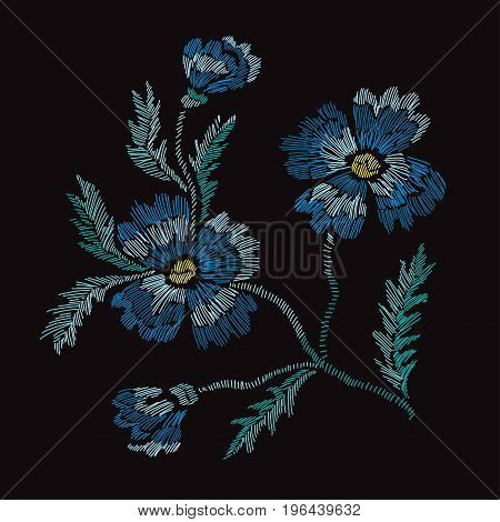 Elegant bouquet with cornflowers design element. Floral composition can be used for wedding baby shower mothers day valentines day cards invitations. Embroidery decorative flowers