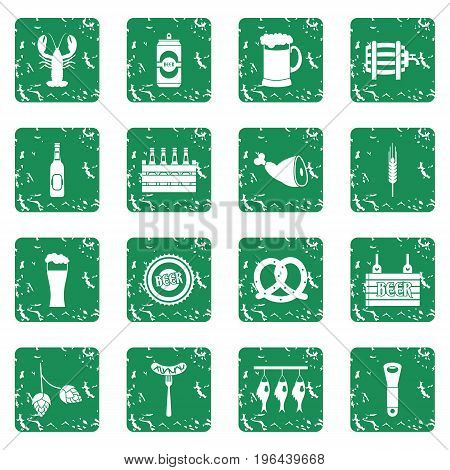 Beer icons set in grunge style green isolated vector illustration