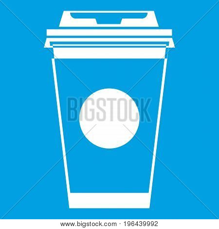 Paper coffee cup icon white isolated on blue background vector illustration