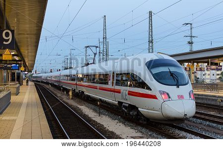 Munich Germany - August 27 2014: High-speed electric train ICE T of German rail lines company Deutsche Bahn AG standing at the station Ostbahnhof in Munich