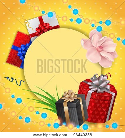 Blank greeting card with round frame, gifts and garland on dot pattern. For greeting cards, posters, leaflets and brochures.