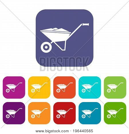 Wheelbarrow icons set vector illustration in flat style in colors red, blue, green, and other