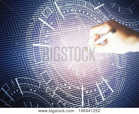 Hand drawing abstract glowing digital business interface. Technology analytics and tech concept. 3D Rendering
