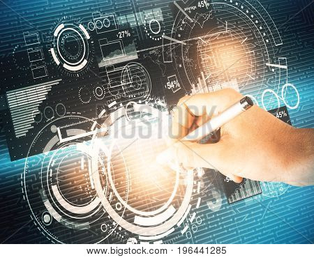 Hand drawing abstract glowing digital business interface. Technology analytics and innovation concept. 3D Rendering