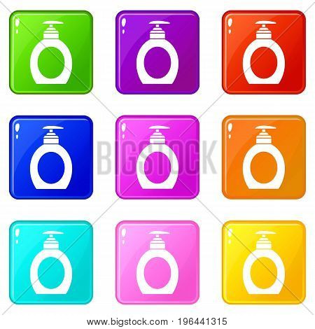 Liquid soap icons of 9 color set isolated vector illustration