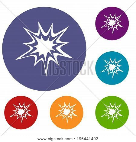 Heavy explosion icons set in flat circle red, blue and green color for web