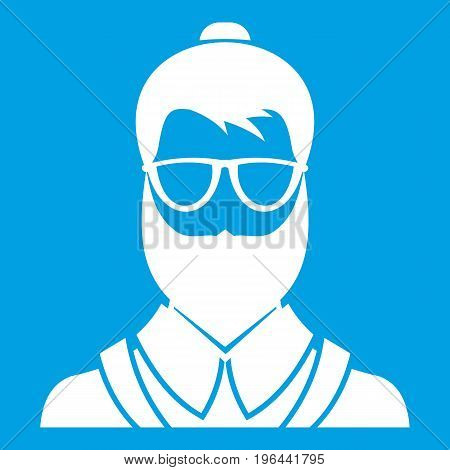 Hipster man icon white isolated on blue background vector illustration
