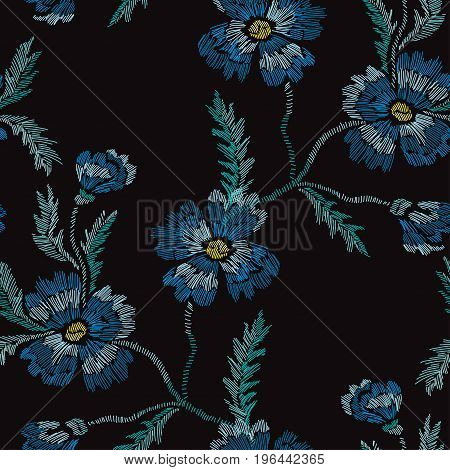 Elegant seamless pattern with hand drawn decorative cornflowers design elements. Floral pattern for wedding invitations cards wallpapers scrapbooking print gift wrap manufacturing. Embroidery