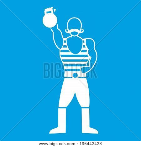 Strong man with kettlebell icon white isolated on blue background vector illustration