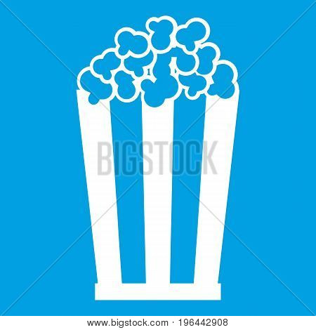 Popcorn in striped bucket icon white isolated on blue background vector illustration