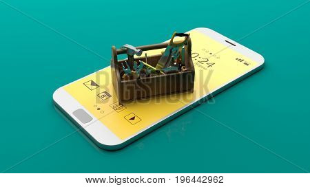 Toolbox on a smartphone on green background. 3d illustration
