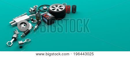 Car parts isolated on green background - copy space. 3d illustration
