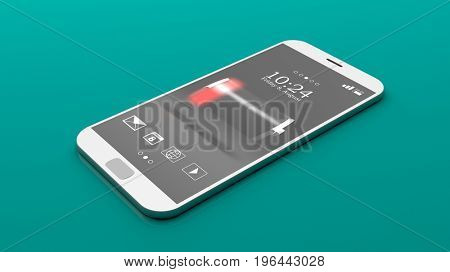 Low battery sign on a smartphone screen on green background. 3d illustration