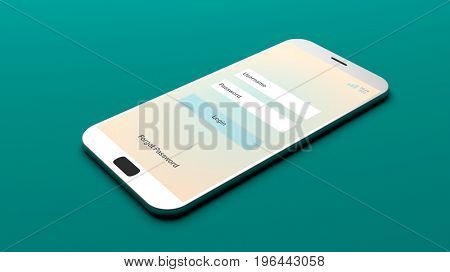 Login on a smartphone screen on green background. 3d illustration