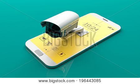 Surveillance camera on a smartphone on green background. 3d illustration
