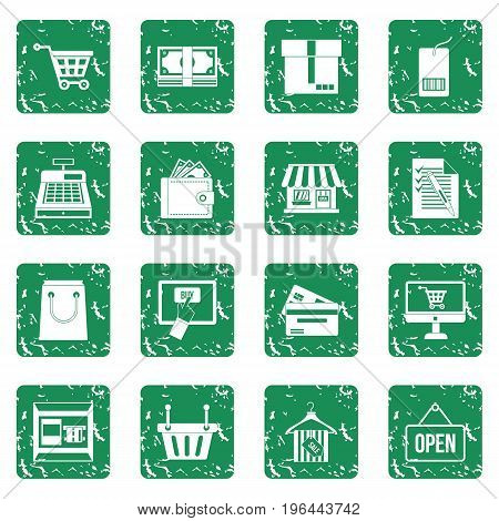 Shopping icons set in grunge style green isolated vector illustration