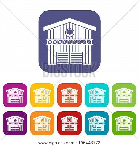 Barn for animals icons set vector illustration in flat style in colors red, blue, green, and other