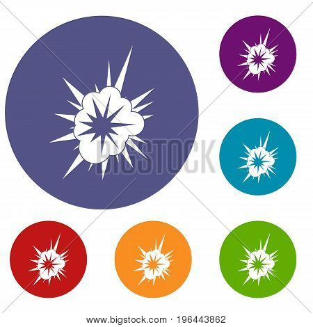 Nucleate explosion icons set in flat circle red, blue and green color for web