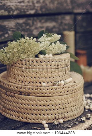 decorative beautiful box for storage on a wooden background