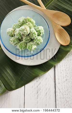Top view malaysia traditional food kueh ondeh ondeh