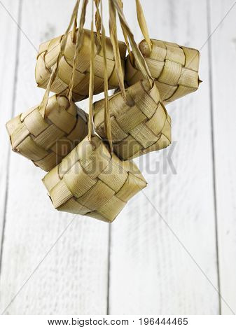 hanging ketupat on the white background
