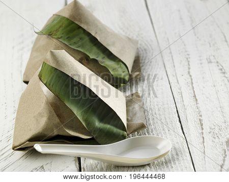 malay food on nasi lemak with spoon