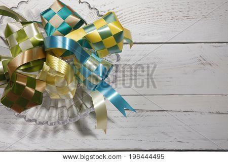decoration ketupat on the glass plate