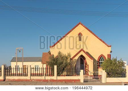 KEETMANSHOOP NAMIBIA - JUNE 13 2017: The Methodist Church built 1926 in Keetmanshoop the capital town of the Karas Region of Namibia