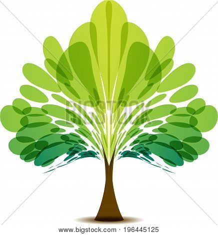 Stylized vector tree logo design with green leaves on white background