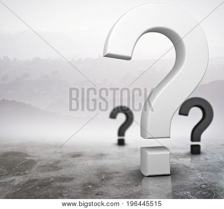 Question marks on abstract foggy gray background. Enquiry concept. 3D Rendering
