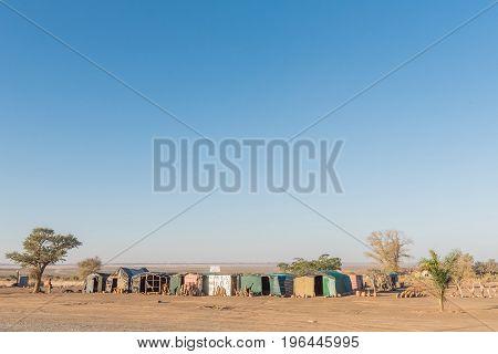 KEETMANSHOOP NAMIBIA - JUNE 13 2017: Wood carving stalls outside Keetmanshoop next to the B1-road to Mariental