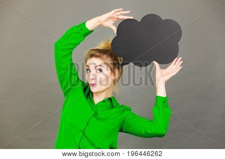 Happy Woman Holding Black Thinking Bubble