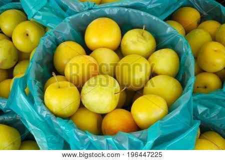 yellow apples basket at the organic market