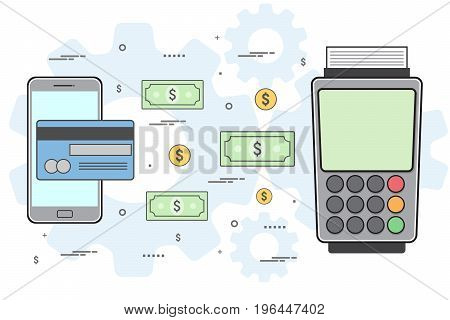 Mobile payments and near field communication. Vector illustration, line art design