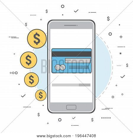 Money transaction concept. Mobile banking and mobile payment. Vector illustration. Line art design