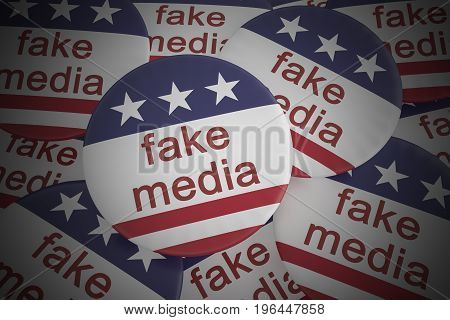USA Politics News Badge: Pile of Fake Media Buttons With US Flag 3d illustration