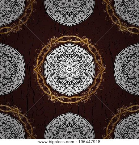 Abstract sketch wrapping decoration. Golden snowflake simple pattern. Vector golden pattern on brown background with golden elements. Symbol of winter Merry Christmas holiday Happy New Year 2018