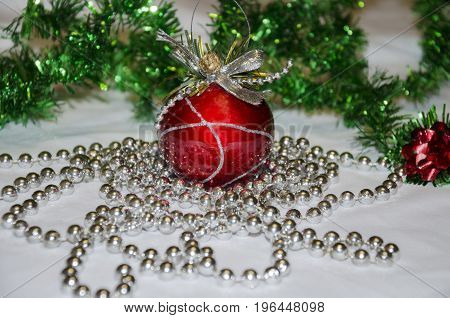 Red bright ball decoration for Christmas tree for Christmas and New Year