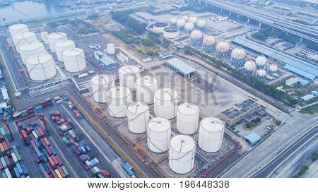 JAKARTA Indonesia. July 10 2017: Aerial view of oil tanks and containers terminal in Tanjung Priok industrial port