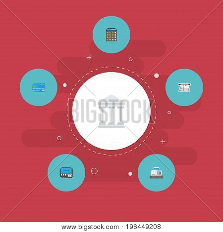 Flat Icons Payment, Accounting, Teller Machine And Other Vector Elements