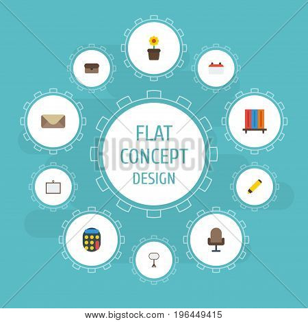 Flat Icons Bookshop, Highlighter, Letter And Other Vector Elements