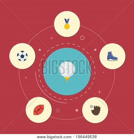Flat Icons American Football, Ice Boot, Reward And Other Vector Elements