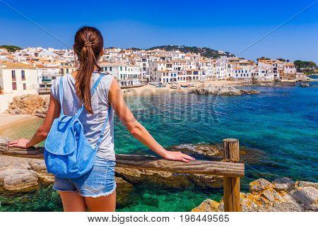 Tourist Woman In Calella De Palafrugell, Catalonia, Spain Near Of Barcelona. Scenic Fisherman Villag