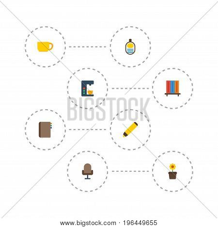 Flat Icons Highlighter, Espresso Machine, Identification And Other Vector Elements