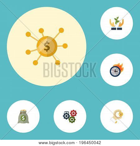 Flat Icons Gear, Coin, Help And Other Vector Elements
