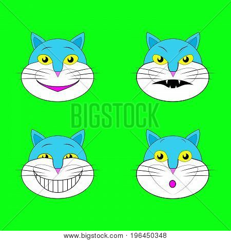 Set of emotions cats smileys isolated on green background.